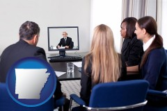 arkansas businesspeople participating in a video conference