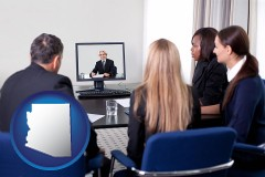 arizona businesspeople participating in a video conference