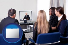 colorado businesspeople participating in a video conference