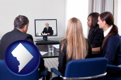 washington-dc businesspeople participating in a video conference