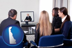 delaware businesspeople participating in a video conference