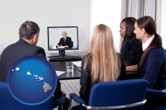 hawaii businesspeople participating in a video conference