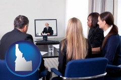 idaho businesspeople participating in a video conference