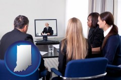 indiana businesspeople participating in a video conference