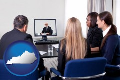 kentucky businesspeople participating in a video conference