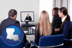 louisiana businesspeople participating in a video conference