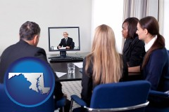 maryland businesspeople participating in a video conference