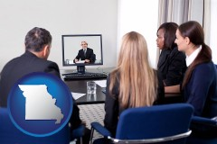 missouri businesspeople participating in a video conference