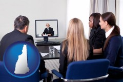 new-hampshire businesspeople participating in a video conference