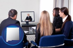 new-mexico businesspeople participating in a video conference