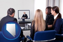nevada businesspeople participating in a video conference
