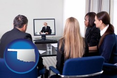 oklahoma businesspeople participating in a video conference