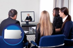 pennsylvania businesspeople participating in a video conference