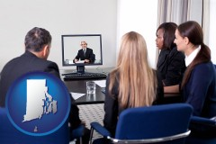 rhode-island businesspeople participating in a video conference