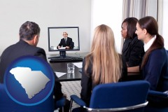 south-carolina businesspeople participating in a video conference