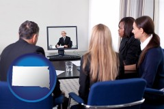 south-dakota businesspeople participating in a video conference