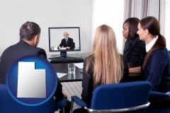 utah businesspeople participating in a video conference