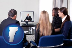 vermont businesspeople participating in a video conference