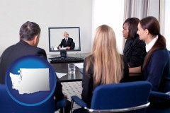 washington businesspeople participating in a video conference