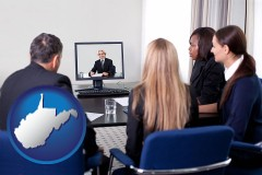 west-virginia businesspeople participating in a video conference